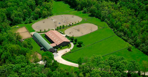 Aerial view of River Run Farm and trails